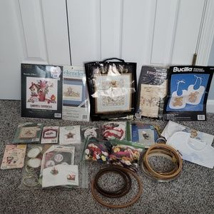 Other - GIANT lot of Cross Stitch kits, floss, and hoops